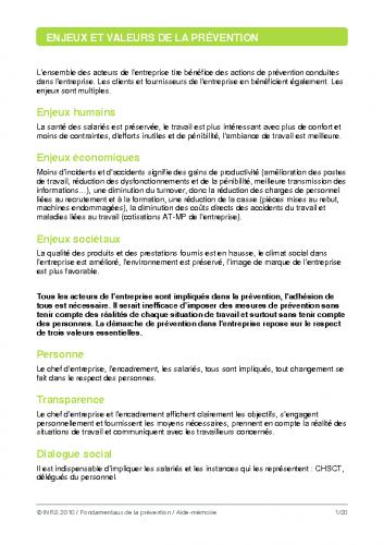 Base de la prévention INRS 2010