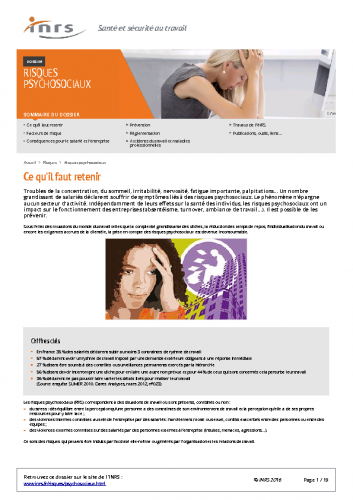 Dossier risques psychosociaux INRS 2016