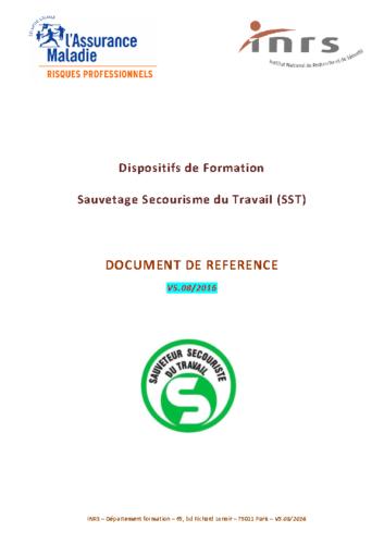 Dispositifs de formation SST – Document de référence 08/2016