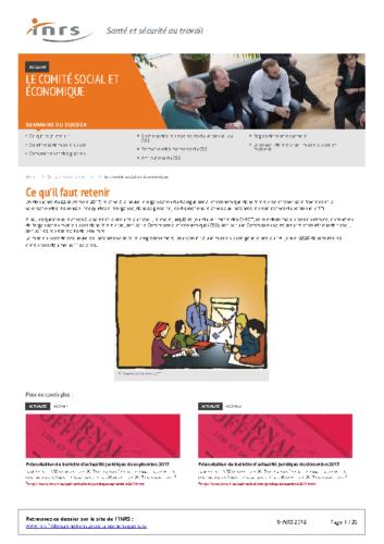 INRS Le Comité social et économique 2018