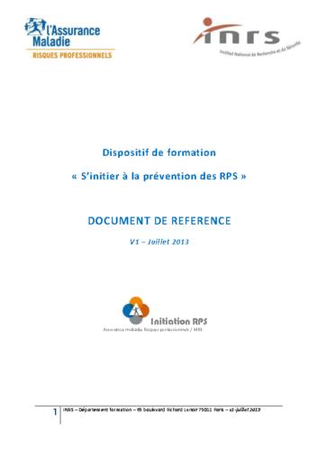 S'initier à la prévention des RPS – Document de référence 07/2013