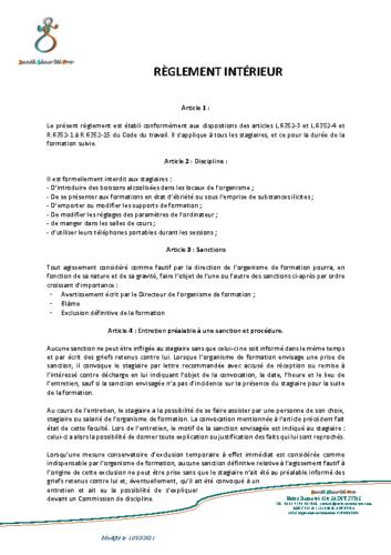 Le règlement intérieur de SSP